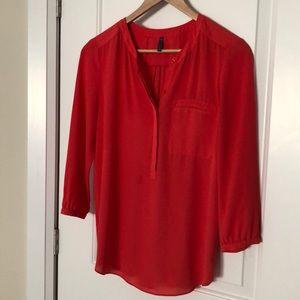 Orange red pop over blouse